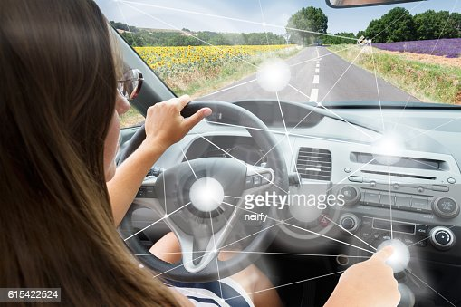 Self-driving car concept : Stock Photo