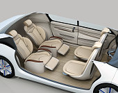 Self-driving car cutaway image. Front seats turn to backward, and the rear seats have gorgeous reclining massage function. 3D rendering image.
