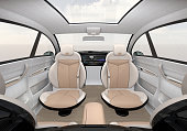 Self-driving SUV interior concept. 3D rendering image.
