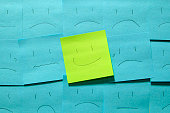 Expressed self-esteem in emoticons on post-it.