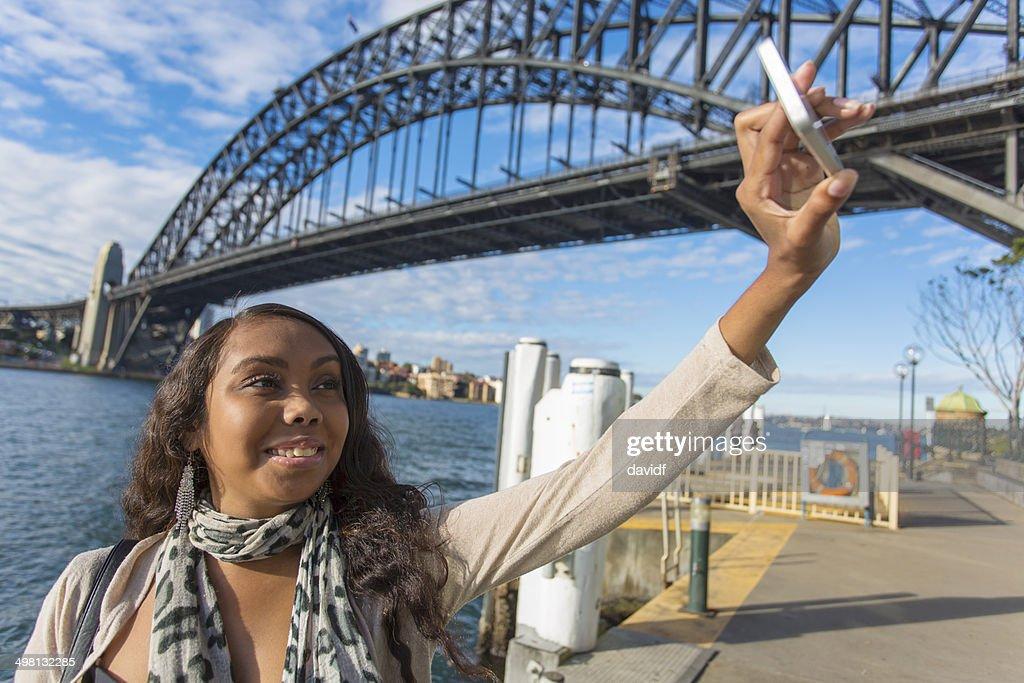 Selfie Aboriginal Woman : Stock Photo