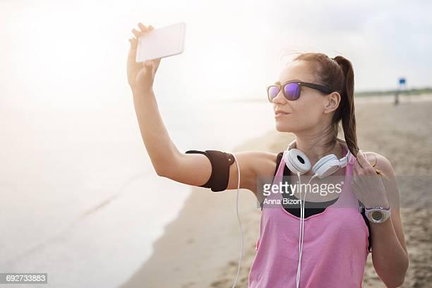 Selfie after hard workout on the beach. Gdansk, Poland