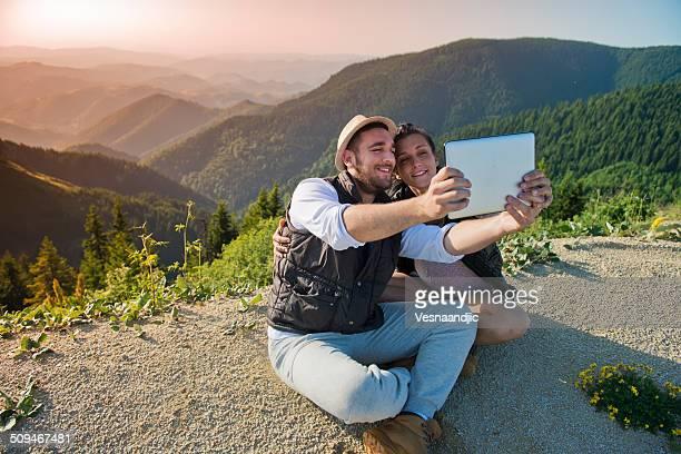 Selfie sur la montagne