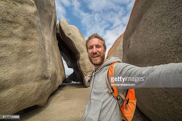 Selfie auf die Bemerkenswerte Felsen auf Känguruh Island-Australien