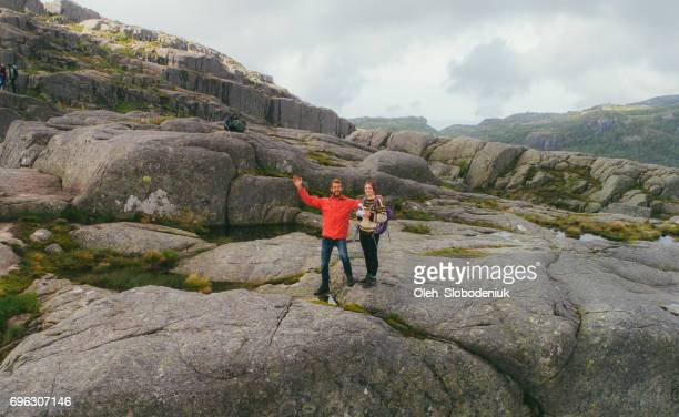 Selfie from drone  of woman and man in mountains