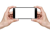 Selfie / Holding blank mobile smart phone with clipping path for the screen