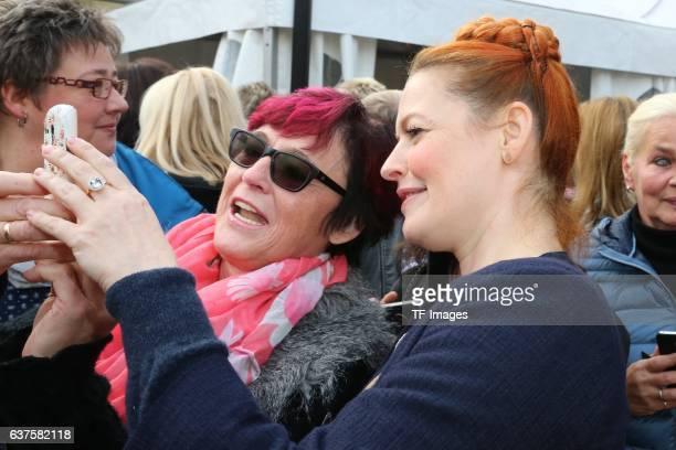 Selfie mit Fans Enie van de Meiklokjes attend the opening of the City Outlet Geislingen on October 27 2016 in Geislingen Germany