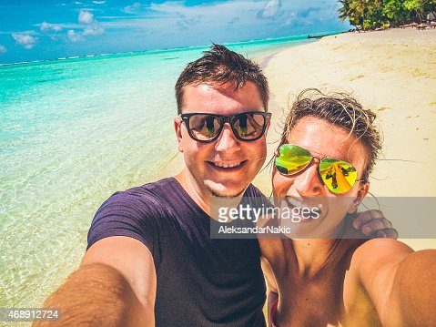 Selfie of a couple in the tropical paradise