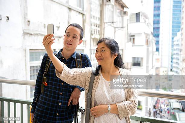 Selfie of Asians in Mid-Levels District, Hong Kong