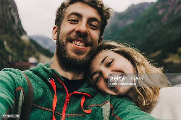 Selfie of couple in mountains