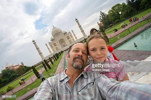 Selfie of father/daughter in front of Taj Maha