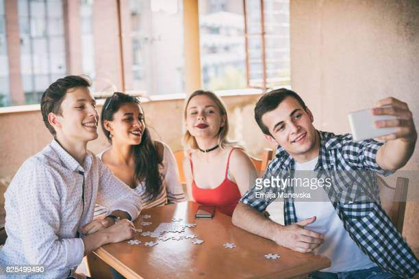 Selfie of young multi-ethnic friends