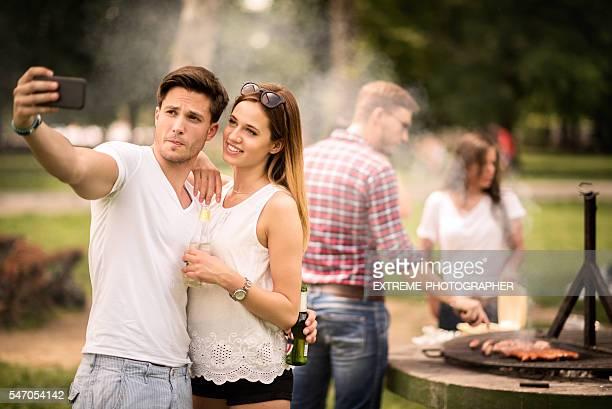 Selfie on a barbecue picnic