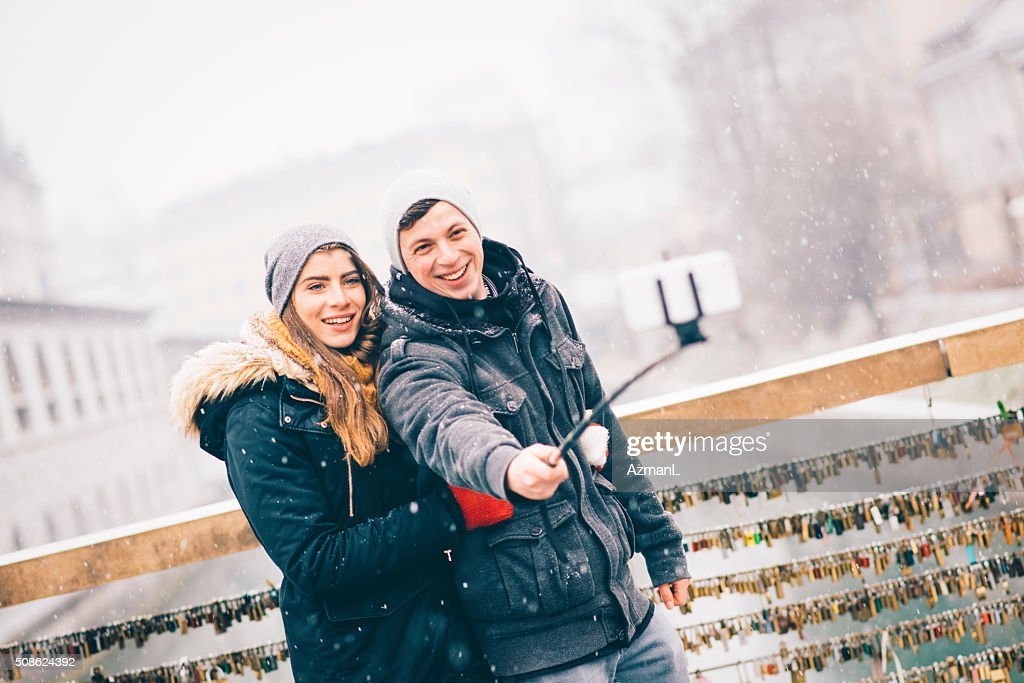 Selfie on a first day of snow : Stock Photo