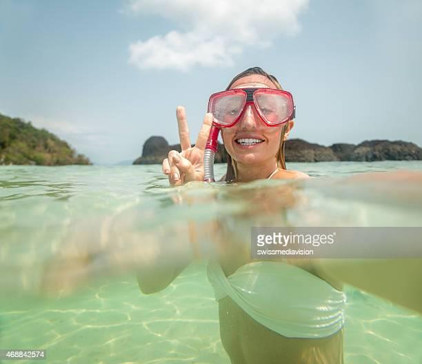 Selfie on snorkelling trip underwater