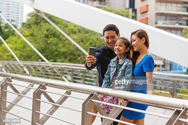 Selfie Self Portrait For Happy Asian Family