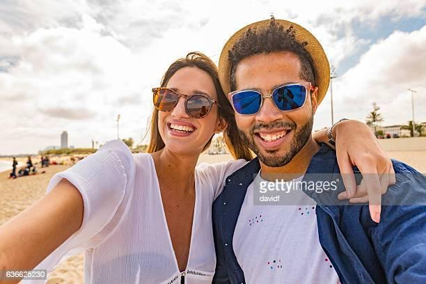 Selfie Self Portraits of Romantic Couple Love on Mediterranean Beach