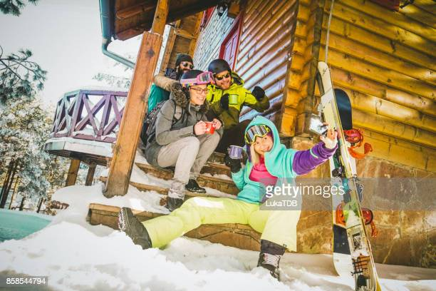 Selfie time for skiers and snowboarders