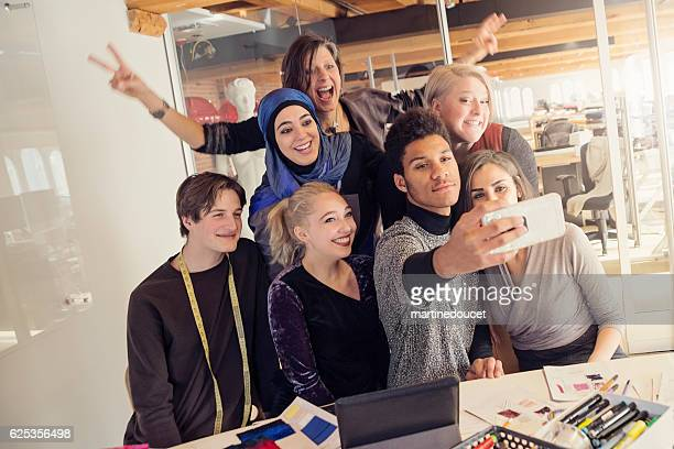 Selfie time for small creative start-up enterprise lead by woman.