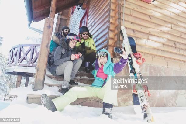 Selfie time on snowy winter journey