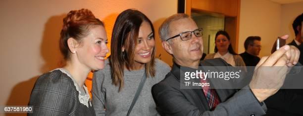 Selfie von Stadtrat Holger Scheible mit Enie van de Meiklokjes und Jana Ina Zarella attend the opening of the City Outlet Geislingen on October 27...