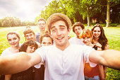 Selfie with Friends, Group of Teenagers at the Park