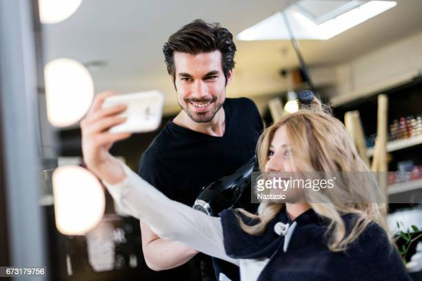 Selfie with hairdresser