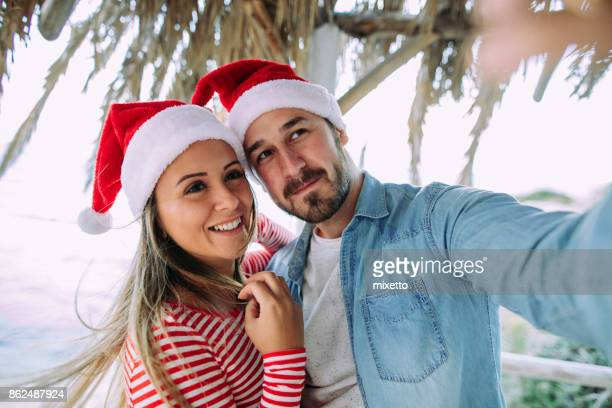 Selfie with Santa Claus caps
