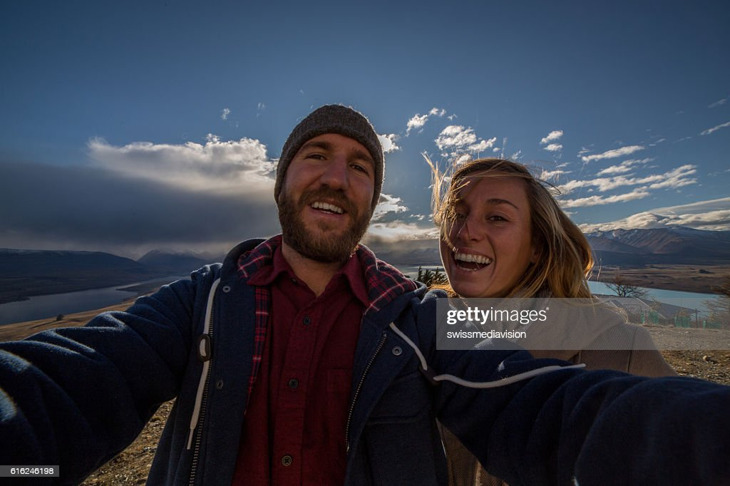 Selfie with spectacular landscape : Stock Photo