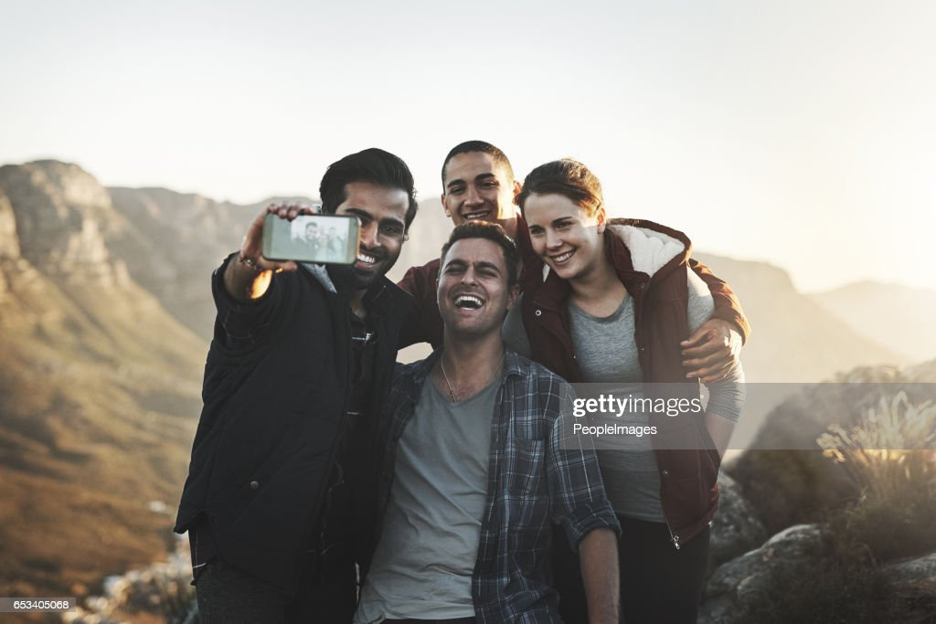 Selfies at the top : Stock Photo