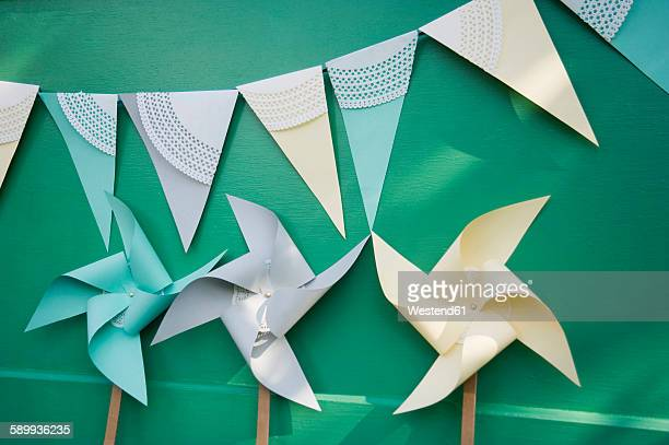 Self-made party decoration, paper windmills and bunting