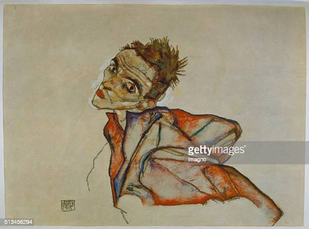 Selfportrait by Egon Schiele 1915 Gouache/Pastell/Black chalk 329 x 448 cm Gouache by Egon Schiele Collection E W Kornfeld