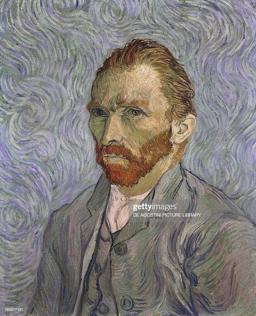 Self-Portrait, 1889, by <a gi-track='captionPersonalityLinkClicked' href=/galleries/search?phrase=Vincent+Van+Gogh+-+Painter&family=editorial&specificpeople=79195 ng-click='$event.stopPropagation()'>Vincent Van Gogh</a> (1853-1890), oil on canvas, 65x54 cm. Paris, Musée D'Orsay