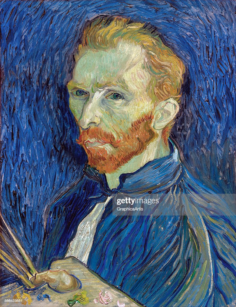 Self-portrait by <a gi-track='captionPersonalityLinkClicked' href=/galleries/search?phrase=Vincent+van+Gogh+-+Peintre&family=editorial&specificpeople=79195 ng-click='$event.stopPropagation()'>Vincent van Gogh</a> (Dutch, 1853 - 1890); oil on canvas, 1889, from the National Gallery, Washington DC.
