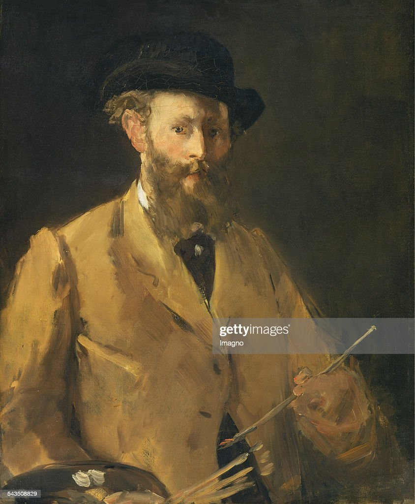 Self-portrait of artist <a gi-track='captionPersonalityLinkClicked' href=/galleries/search?phrase=Edouard+Manet&family=editorial&specificpeople=99081 ng-click='$event.stopPropagation()'>Edouard Manet</a> 1832-1883. Selbstbildnis mit Palette. 83 x 67 cm.Öl/Lwd. 1879. Gemälde in Privatbesitz.
