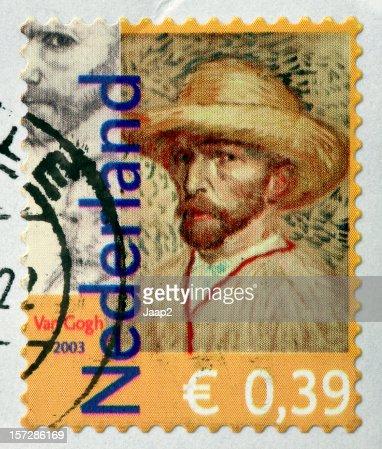 Selfportrait の有名画家オランダのヴァン・ゴッホのスタンプ(2003