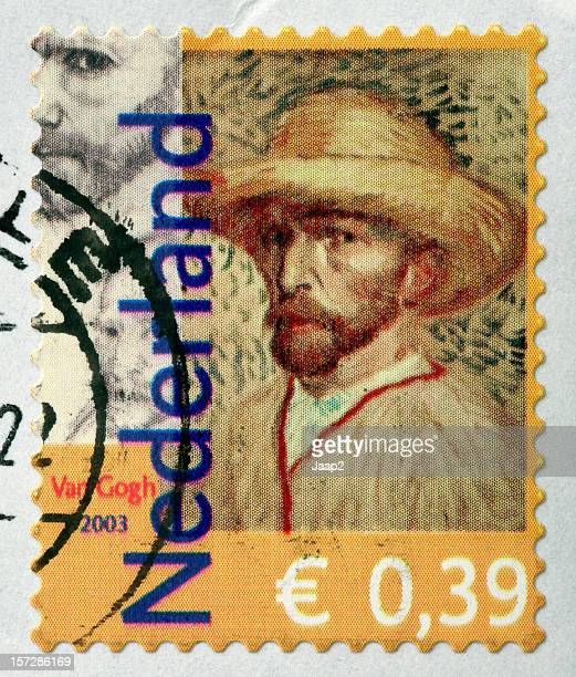 Selfportrait of famous painter Van Gogh on Dutch stamp (2003)