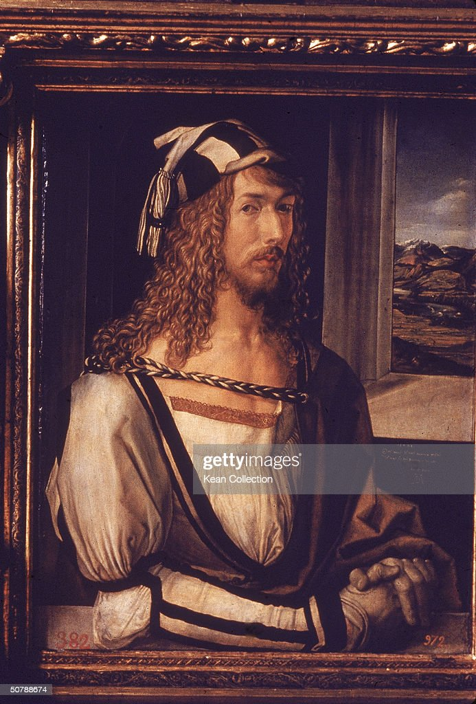 Self-portrait of German painter <a gi-track='captionPersonalityLinkClicked' href=/galleries/search?phrase=Albrecht+Durer&family=editorial&specificpeople=79194 ng-click='$event.stopPropagation()'>Albrecht Durer</a> (1471-1528) in a carved wooden frame.