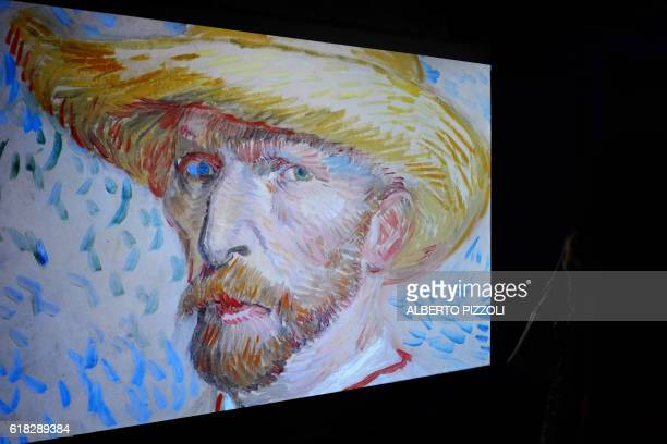 A 'selfportrait' of Vincent Van Gogh is displayed on a screen as part of the exhibition 'Van Gogh Alive The Experience' life and work of Vincent Van...