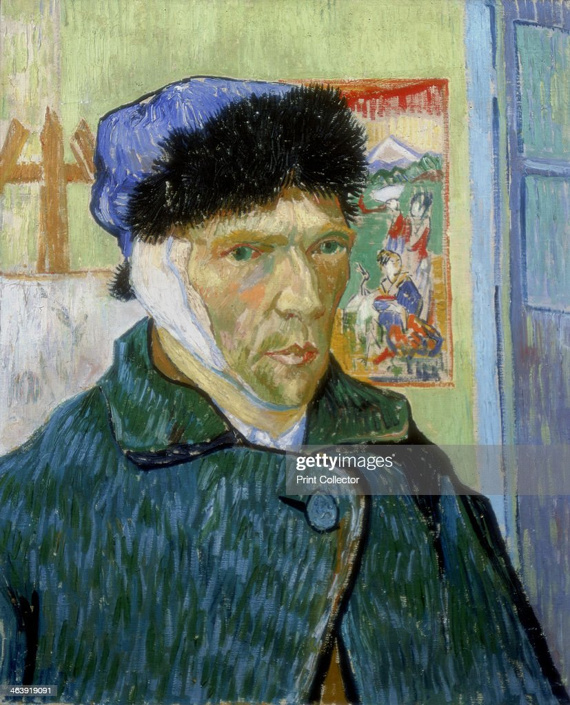 'Self-Portrait with Bandaged Ear', 1889. <a gi-track='captionPersonalityLinkClicked' href=/galleries/search?phrase=Vincent+van+Gogh+-+Pintor&family=editorial&specificpeople=79195 ng-click='$event.stopPropagation()'>Vincent van Gogh</a> (1853-1890) painted this self-portrait after a quarrel with fellow artist Paul Gauguin (1848-1903) at Arles during which he threatened Gauguin with a razor. In remorse, he cut off part of his own ear. From the collection of the Courtauld Institute, London.