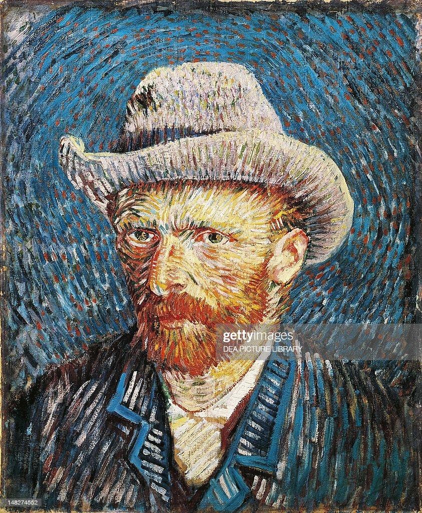 SelfPortrait with felt hat by Vincent van Gogh oil on canvas 44x375 cm Amsterdam Van Gogh Museum