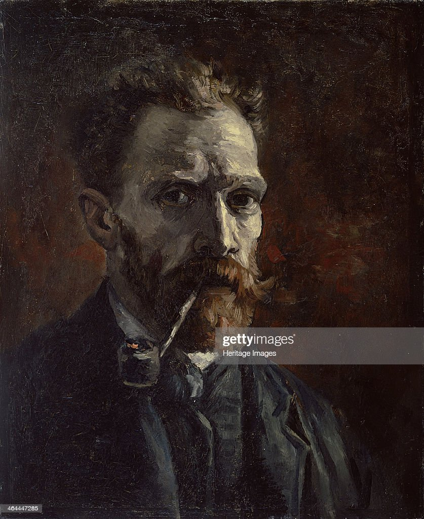 Self-portrait with pipe, 1886. Found in the collection of the Van Gogh Museum, Amsterdam.
