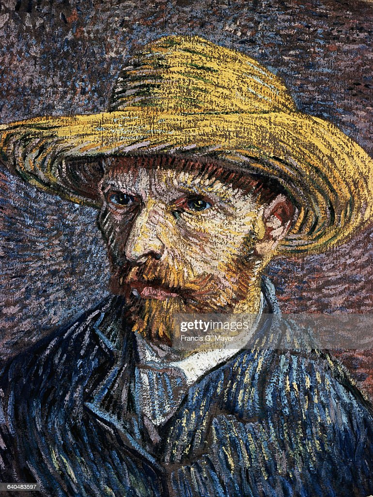 Self-Portrait with Straw Hat by Vincent van Gogh