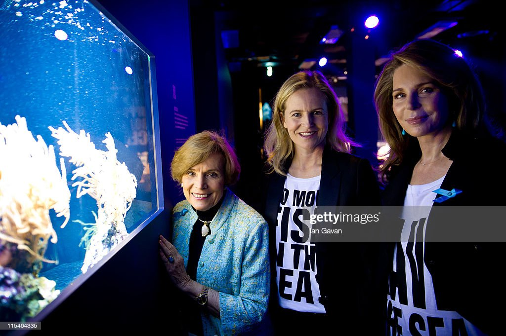 Selfridges creative director Alannah Weston, Oceanographer Silvia Earle and Her Majesty Queen Noor of Jordan visit the Selfridges Ultralounge ahead of the launch of the 19th World Oceans Day at Selfridges Ultralounge on on June 7, 2011 in London, England. World Oceans Day will be held for the first time at Selfridges and will be attended by members of Parliament from across the European Union including Richard Benyon the British Fisheries Minister.