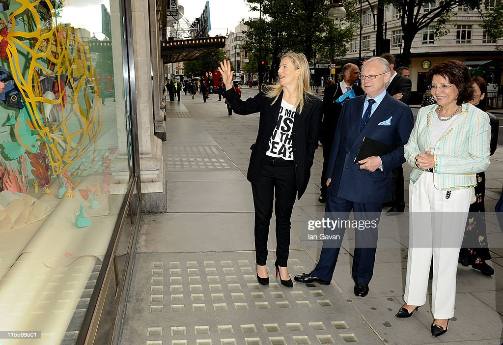 Selfridges creative director <a gi-track='captionPersonalityLinkClicked' href=/galleries/search?phrase=Alannah+Weston&family=editorial&specificpeople=549749 ng-click='$event.stopPropagation()'>Alannah Weston</a>, President of GLOBE International, Lord Deben and Commissioner for Maritime Affairs and Fisheries of the European Union, Maria Damanaki view the Selfridges Project Ocean themed window displays before the launch of the 19th World Oceans Day at Selfridges Ultralounge on June 8, 2011 in London, England. World Oceans Day is held for the first time at Selfridges and will be attended by members of Parliament from across the European Union.