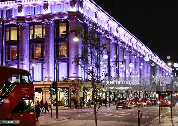 Selfridges department store is lit up for the Festive season on December 16 2014 in London England Christmas is an annual religious feast day...