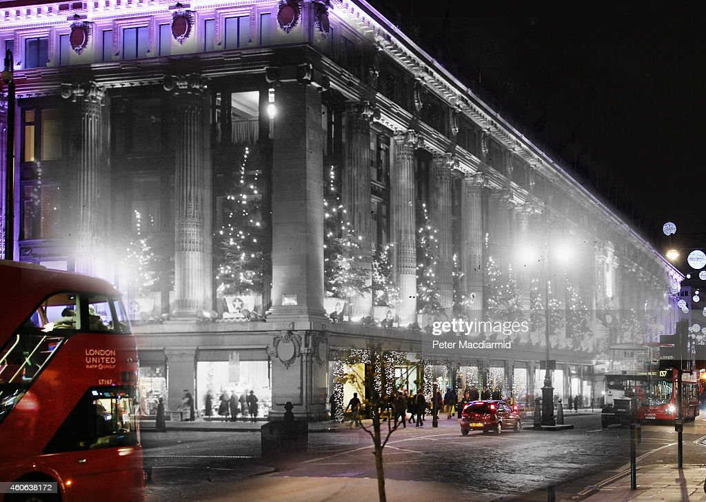 In this digital composite image a comparison has been made of London at Selfridges in 1935 (Archive, Topical Press Agency) and Modern Day 2014 (Peter Macdiarmid) at Christmas time. LONDON, ENGLAND - DECEMBER 16: Selfridges department store is lit up for the Festive season on December 16, 2014 in London, England. Christmas is an annual religious feast day originally set on December 25 to celebrate the birth of Jesus Christ and is a cultural festival and public holiday celebrated by billions of people around the world.