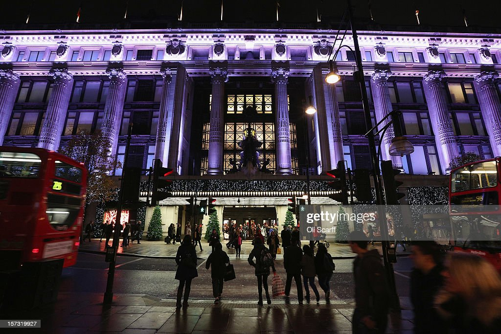 Selfridges department store on Oxford Street on November 26, 2012 in London, England. Many prominent retailers in the capital have produced elaborate festive window displays to entice Christmas shoppers with less than one calendar month remaining before Christmas Day.