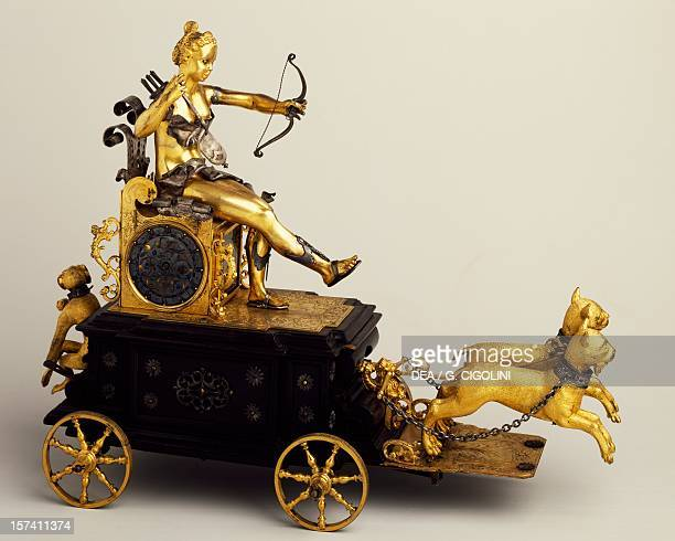 Selfwinding triumphal chariot clock known as the chariot of Diana 1610 Germany 17th century Milan Museo Poldi Pezzoli