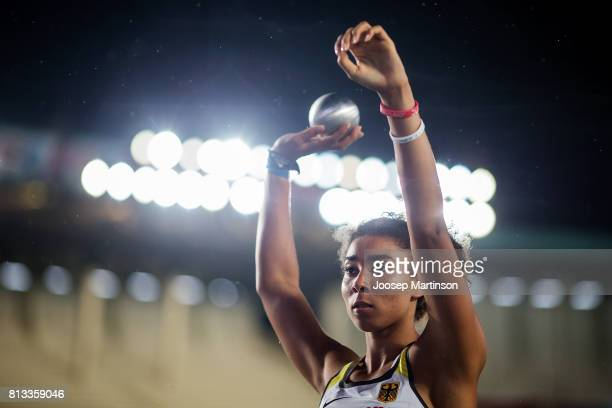 Selina Dantzler of Germany competes in the girls shot put final during day 1 of the IAAF U18 World Championships at Moi International Sports Centre...